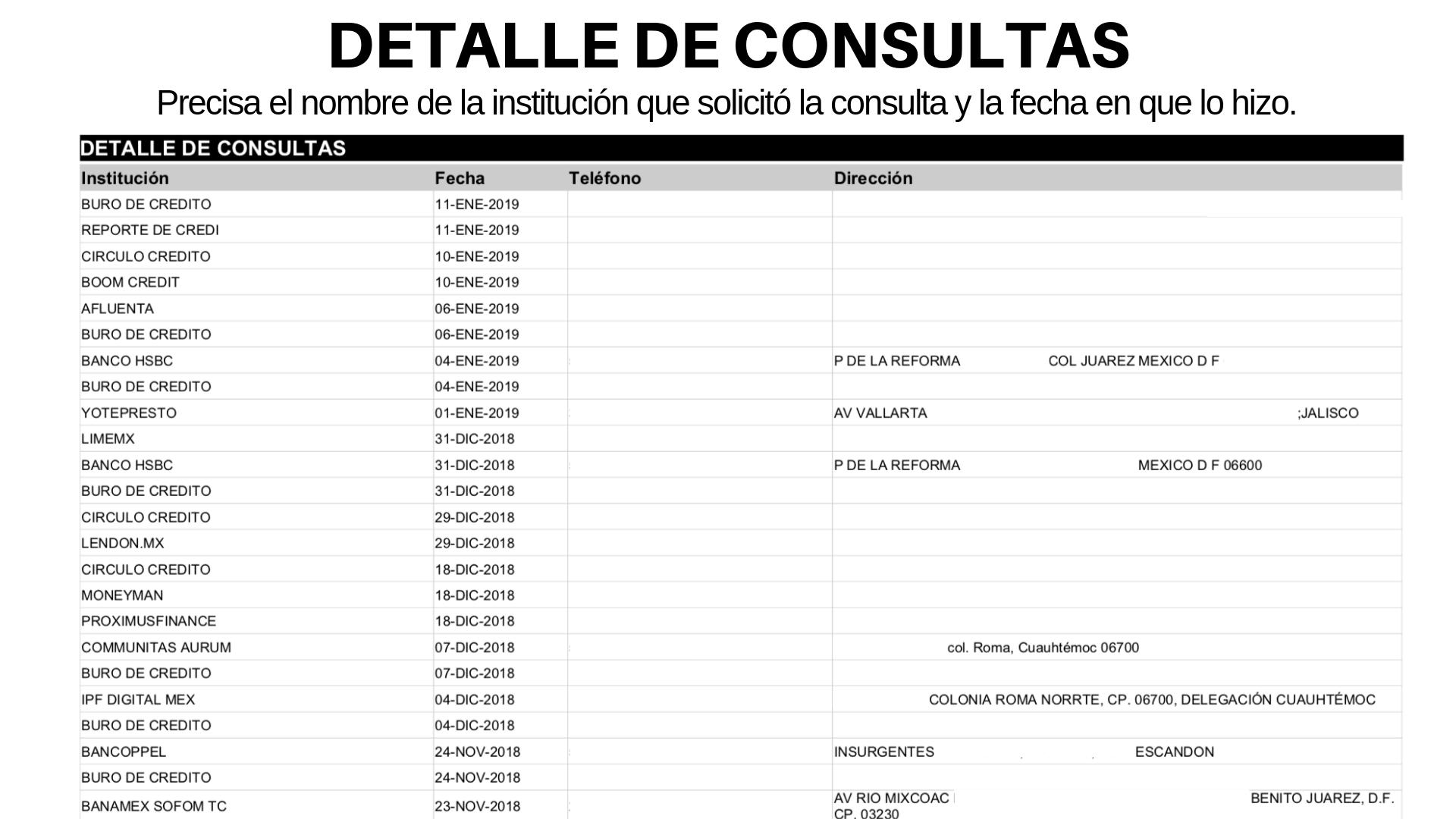 Detalle de consultas - reporte de crédito especial