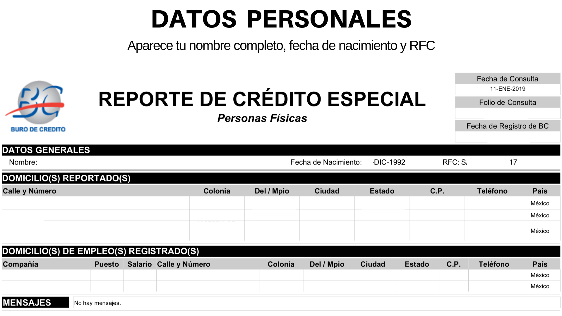 Datos personales - reporte de crédito especial